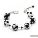 Ball peas black and white - Genuine Murano glass bracelet Venice