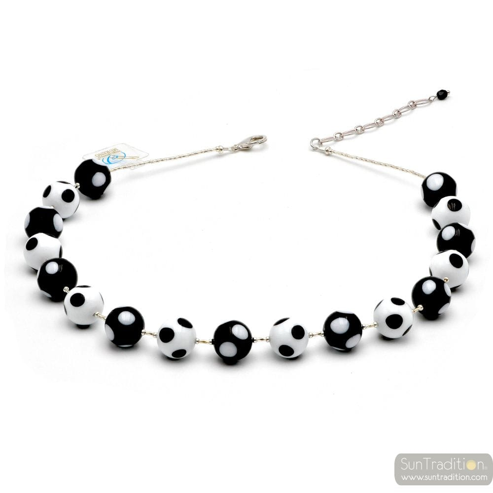 BALL WHITE BLACK POLKA DOTS - BLACK MURANO GLASS NECKLACE POLKA DOTS IN THE GENUINE MURANO GLASS OF VENICE