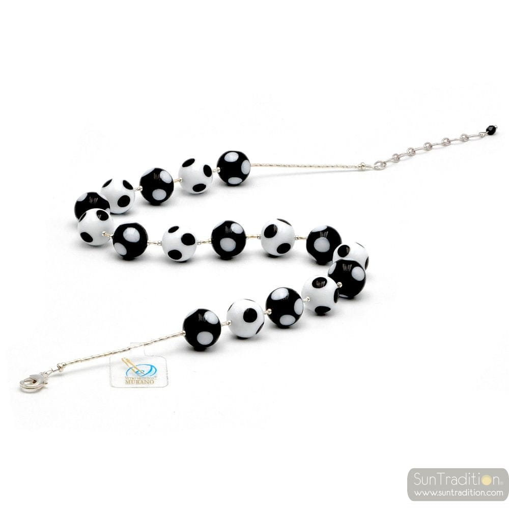 BALL WHITE-BLACK PEAS - BLACK COLLAR HAS POLKA DOTS IN THE GENUINE MURANO GLASS OF VENICE