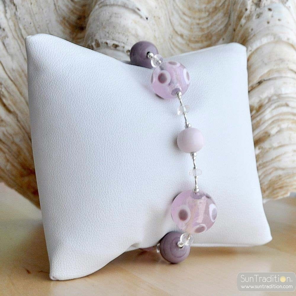 lilac amber murano glass jewelry bracelet