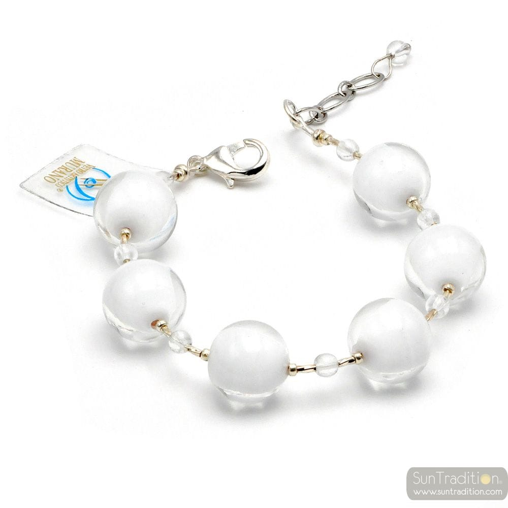 White chrystal ball - white Murano glass bracelet