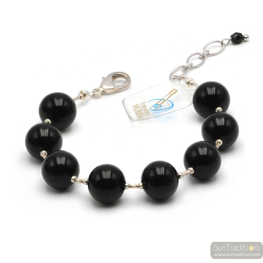 Ball black - Black Murano glass bracelet from Venice