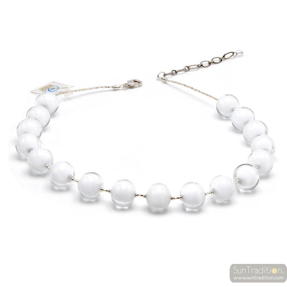 BALL WHITE - WHITE NECKLACE GENUINE MURANO GLASS OF VENICE