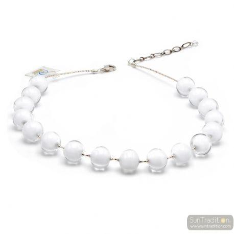 Ball white - White Murano glass ball necklace true italian jewel of Venice Italy