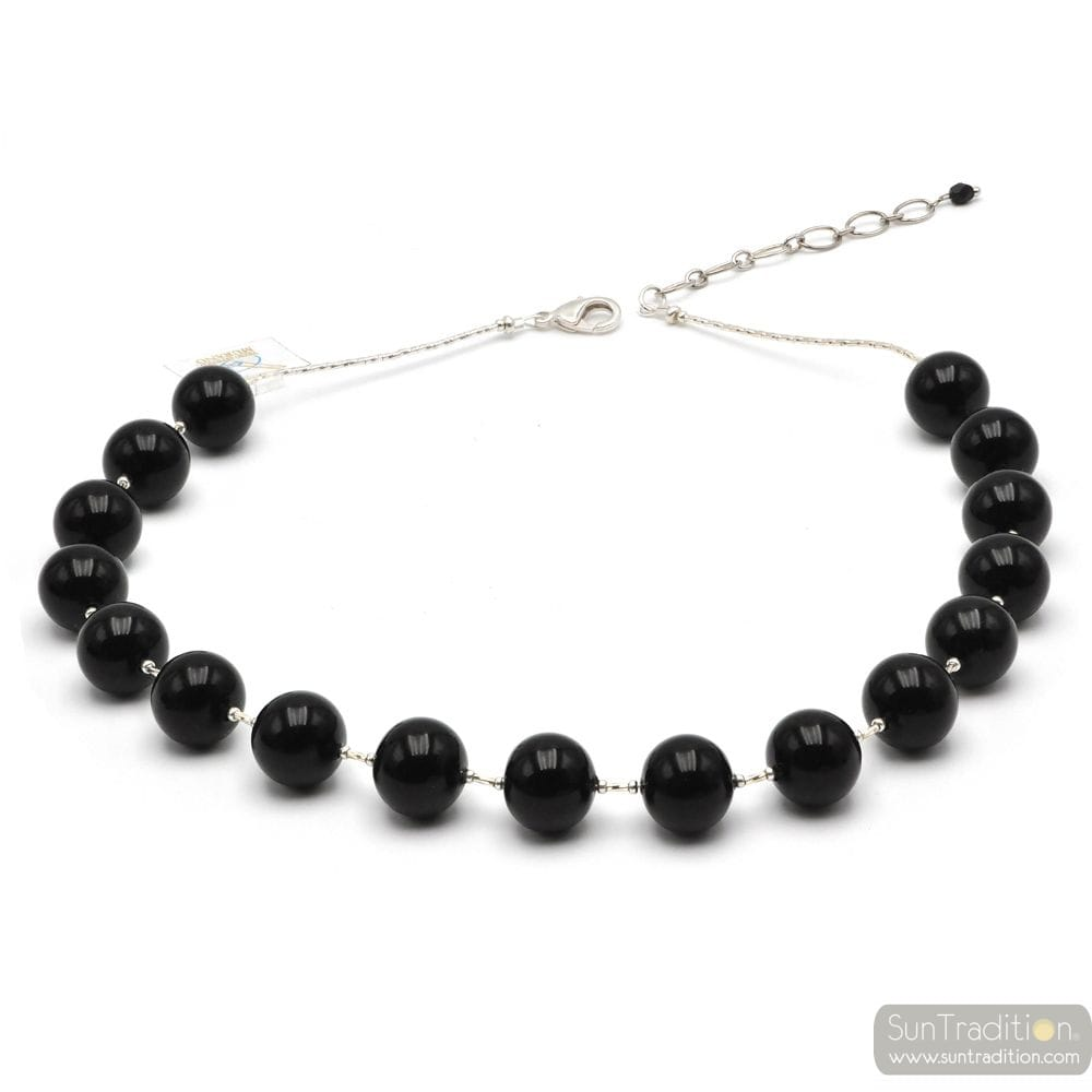 Ball black - Black ball Murano glass necklace genuine italian jewellry from Venice