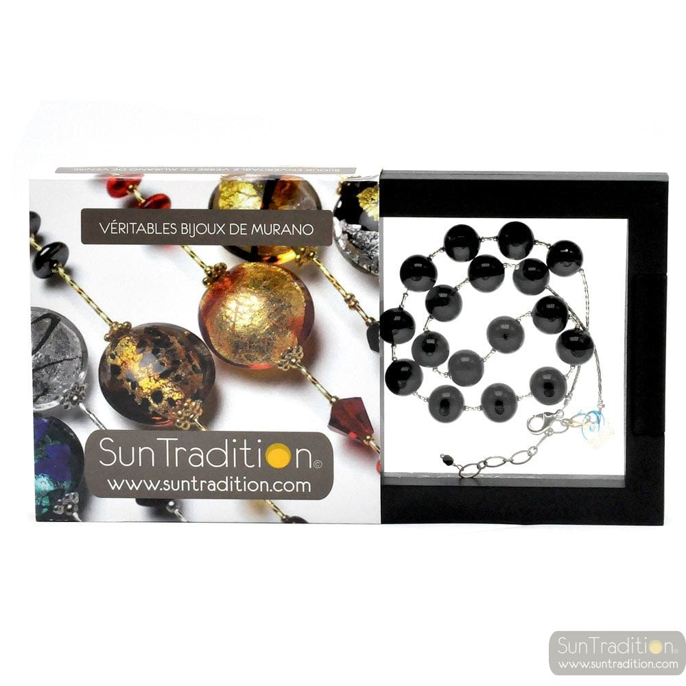 BALL BLACK - BLACK COLLAR IN GENUINE MURANO GLASS FROM VENICE