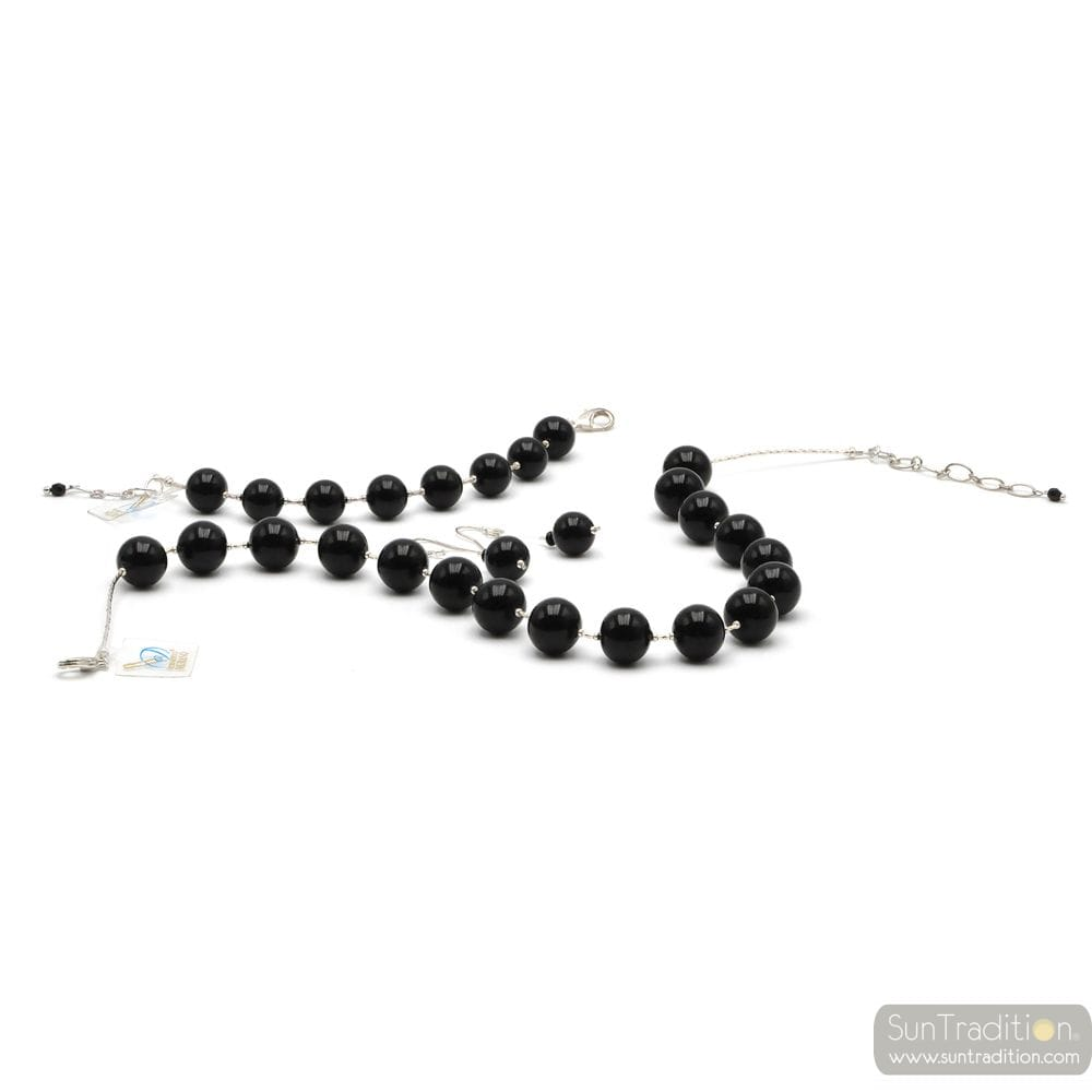 BLACK BALL JEWELRY SET IN REAL MURANO GLASS VENICE