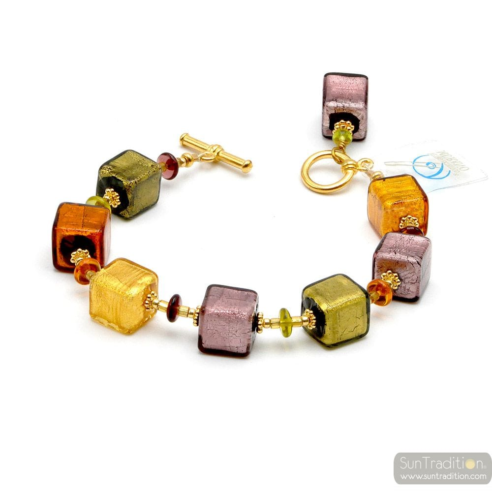 America Gold - Amber Parma genuine Murano glass bracelet