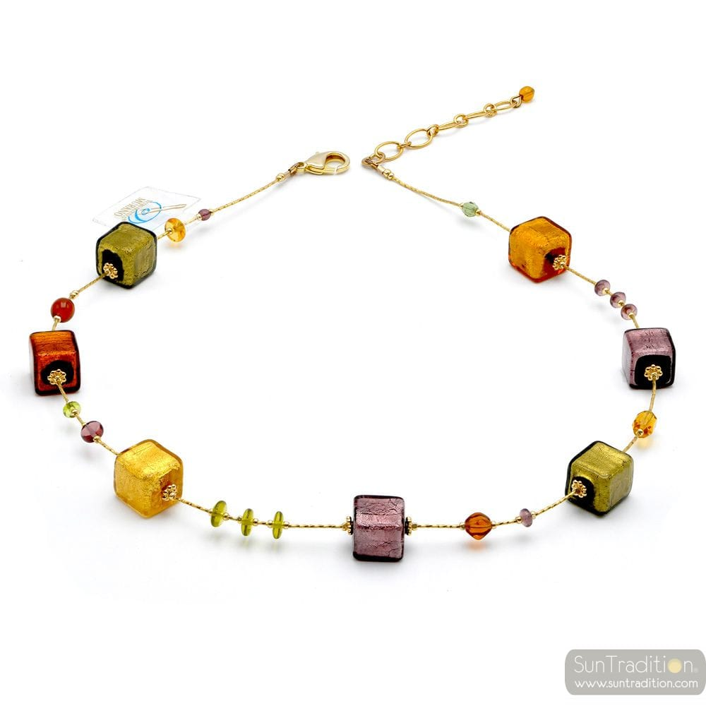 COLLIER AMBRE OR ET PARME VERITABLE VERRE DE MURANO