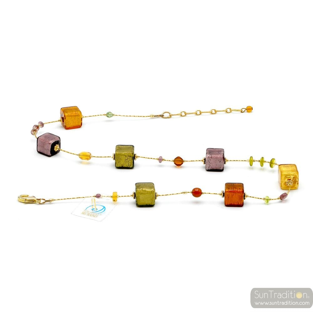NECKLACE GENUINE MURANO GLASS AMBER GOLD AND PARMA