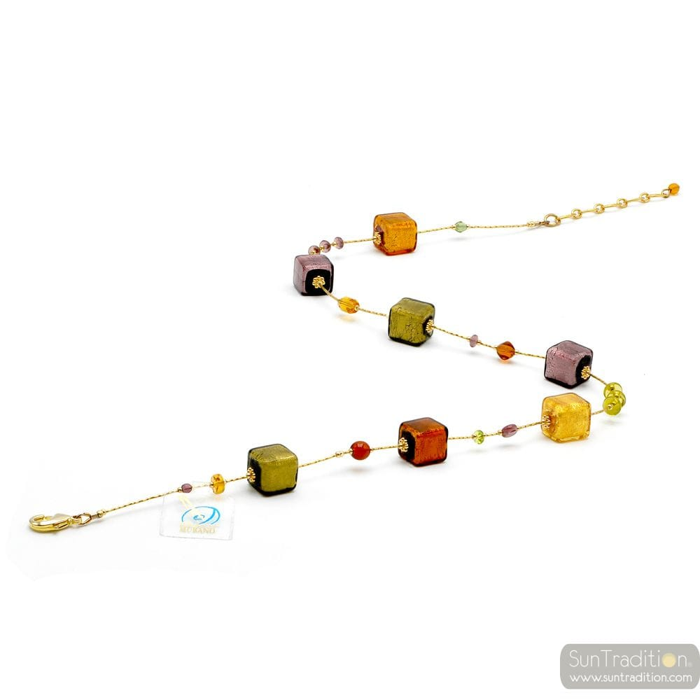 NECKLACE AMBER GOLD AND PARMA REAL MURANO GLASS