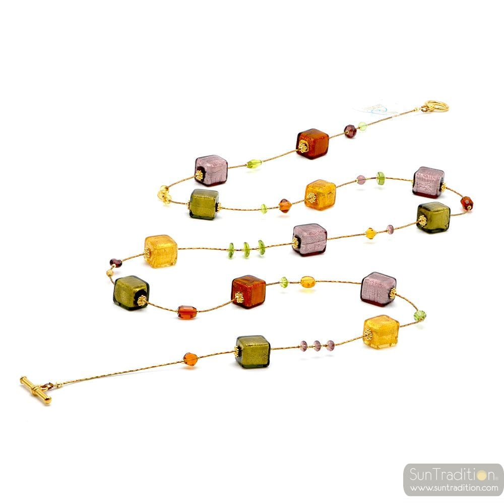 AMERICA AMBER LONG - LONG NECKLACE AMBER GOLD AND PARMA REAL MURANO GLASS