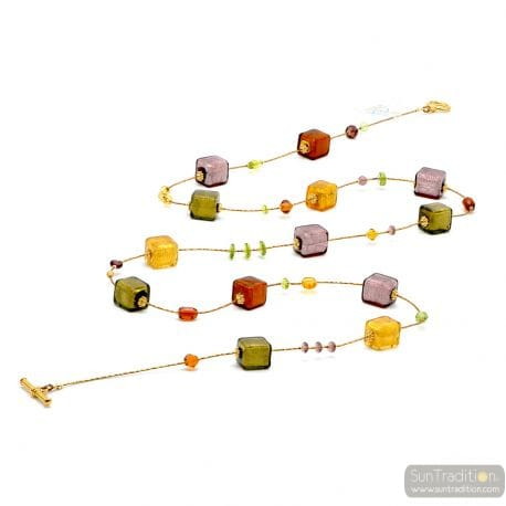 Amber and gold Murano glass necklace genuine venitian jewellry from Italy