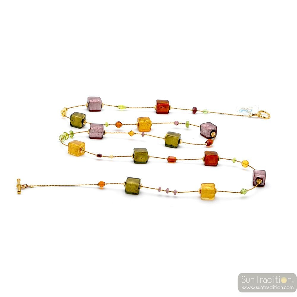 LONG GOLD AND PARMA MURANO GLASS NECKLACE