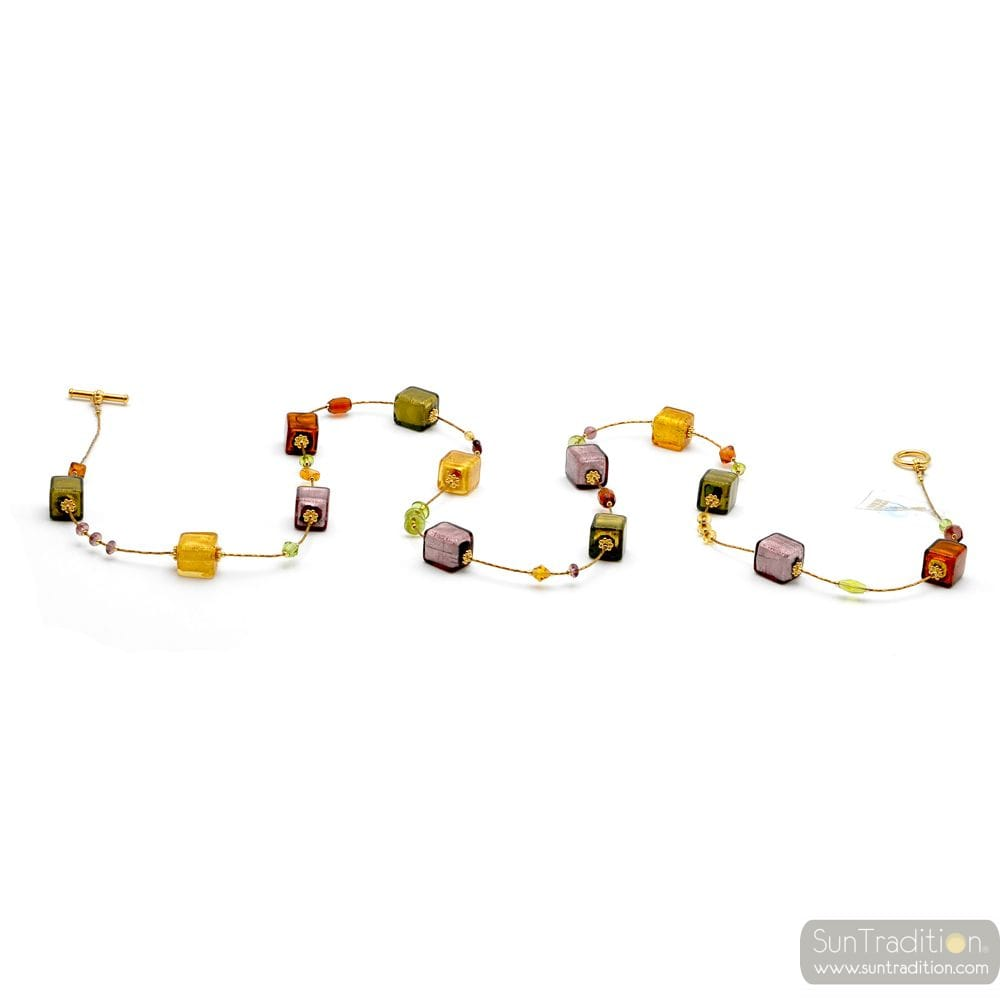NECKLACE LONG GLASS MURANO AMBER GOLD AND PARMA