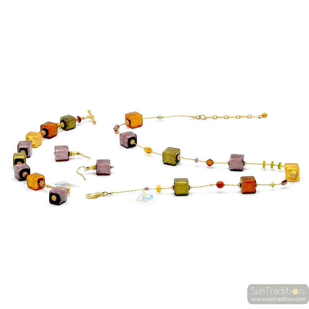 AMBER GOLD AND PARMA JEWELRY SET GENUINE MURANO GLASS