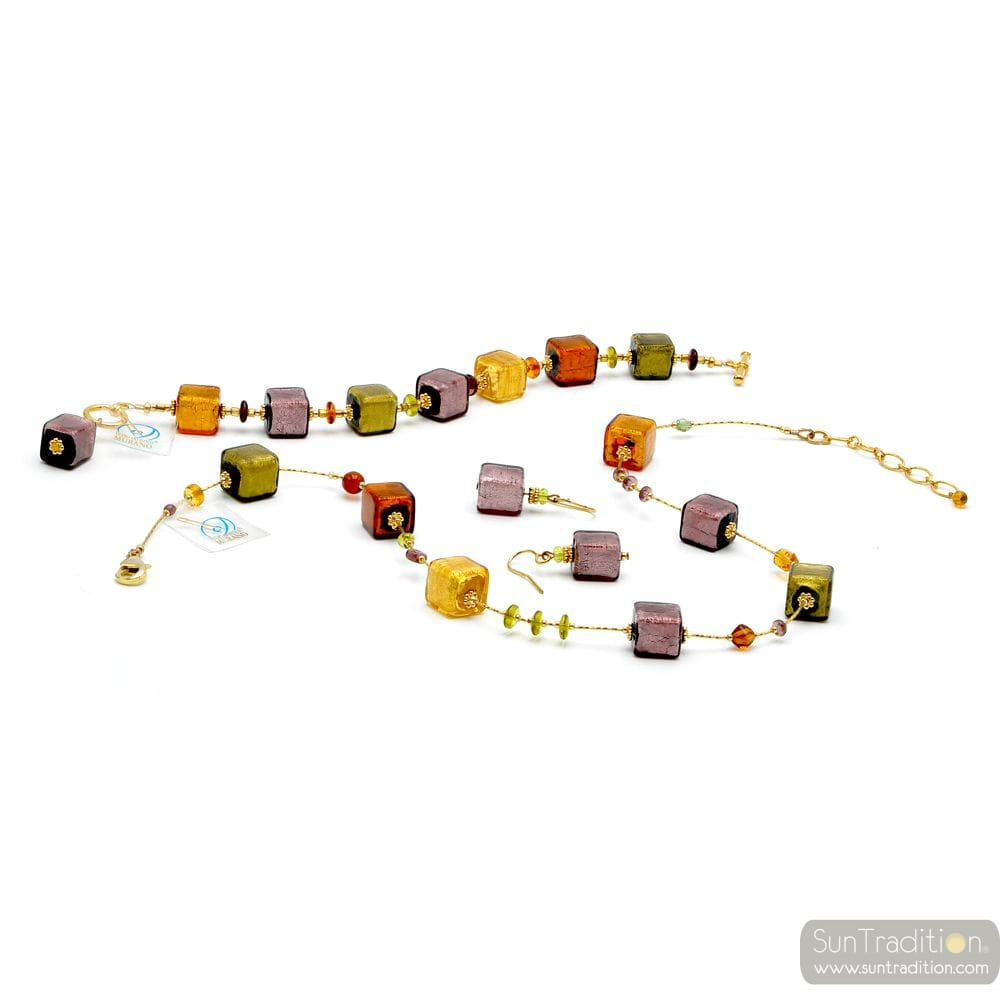 AMBER GOLD AND PARMA JEWELLERY SET GENUINE MURANO GLASS