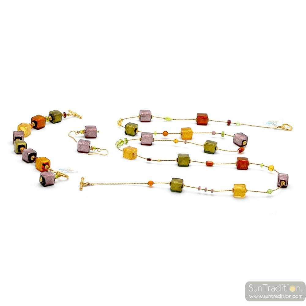 LONG AMBER NECKLACE GOLD AND PARMA JEWELLERY SET GENUINE MURANO GLASS