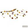 LONG AMBER NECKLACE GOLD AND PARMA JEWELERY SET GENUINE MURANO GLASS