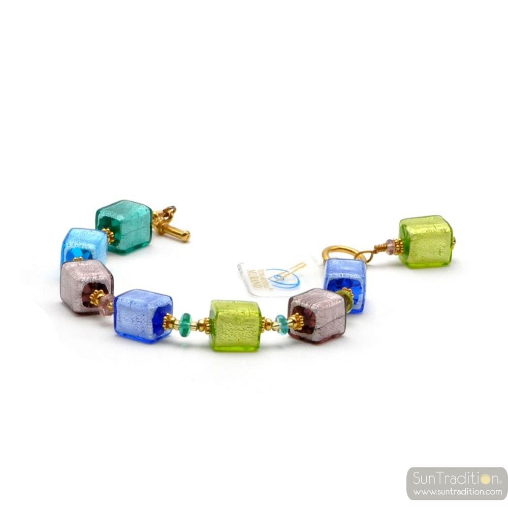America blue - Genuine multicolor Murano glass bracelet from Venice