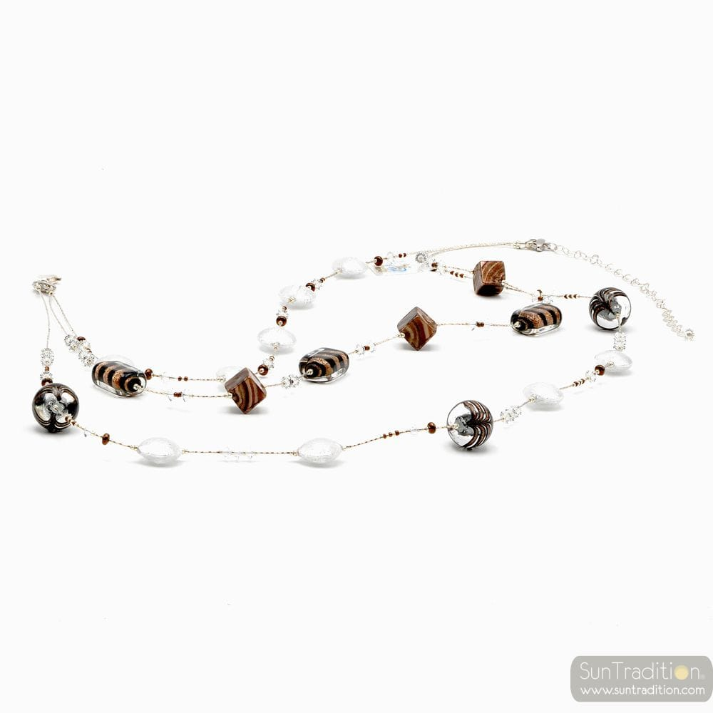 SILVER MURANO GLASS NECKLACE BARIOLE BROWN