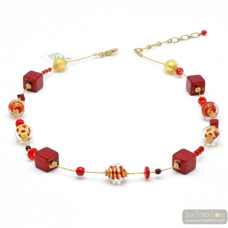 Mix red - Red Murano glass necklace genuine jewel of Venice Italy