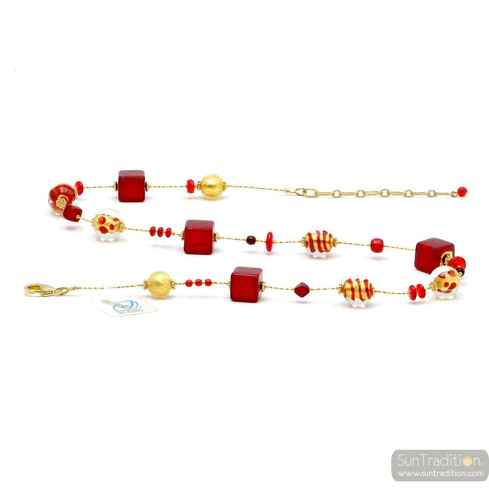 MIX RED - RED COLLAR GOLD GENUINE MURANO GLASS