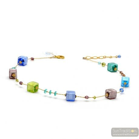 MULTICOLOR NECKLACE - AMERICA COLLAR REAL GLASS MURANO VENICE