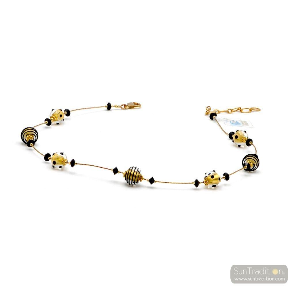 JOJO MINI BLACK AND GOLD - GOLD NECKLACE GENUINE MURANO GLASS