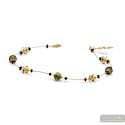 Jo-jo mini gold and black - Gold and black Murano glass necklace venitian jewel of Italy
