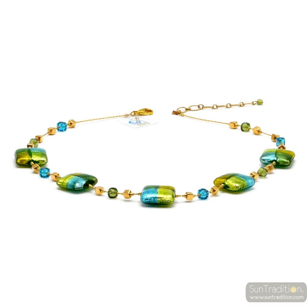 Quadrifoglio green - Green and gold Murano square beads necklace true jewel of venice Italy