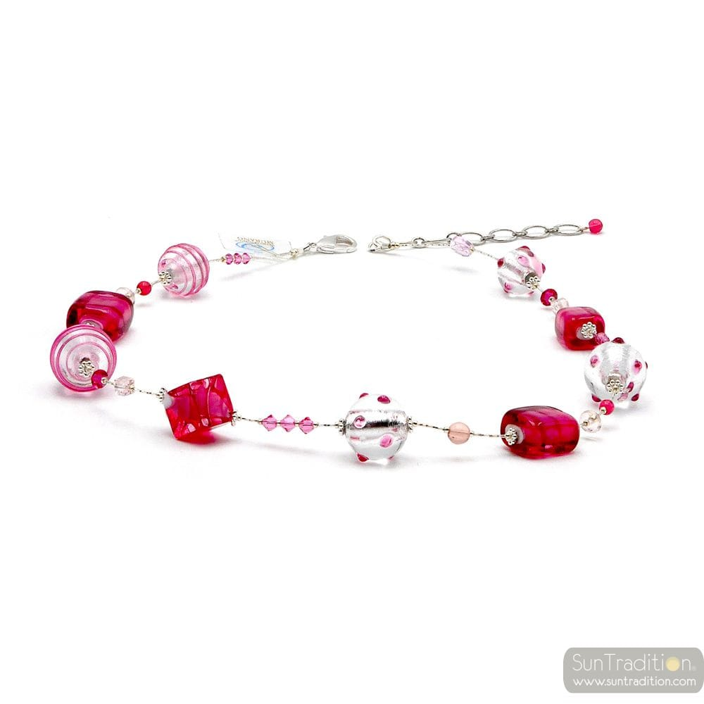 JOJO PINK AND SILVER - PINK NECKLACE GENUINE MURANO GLASS