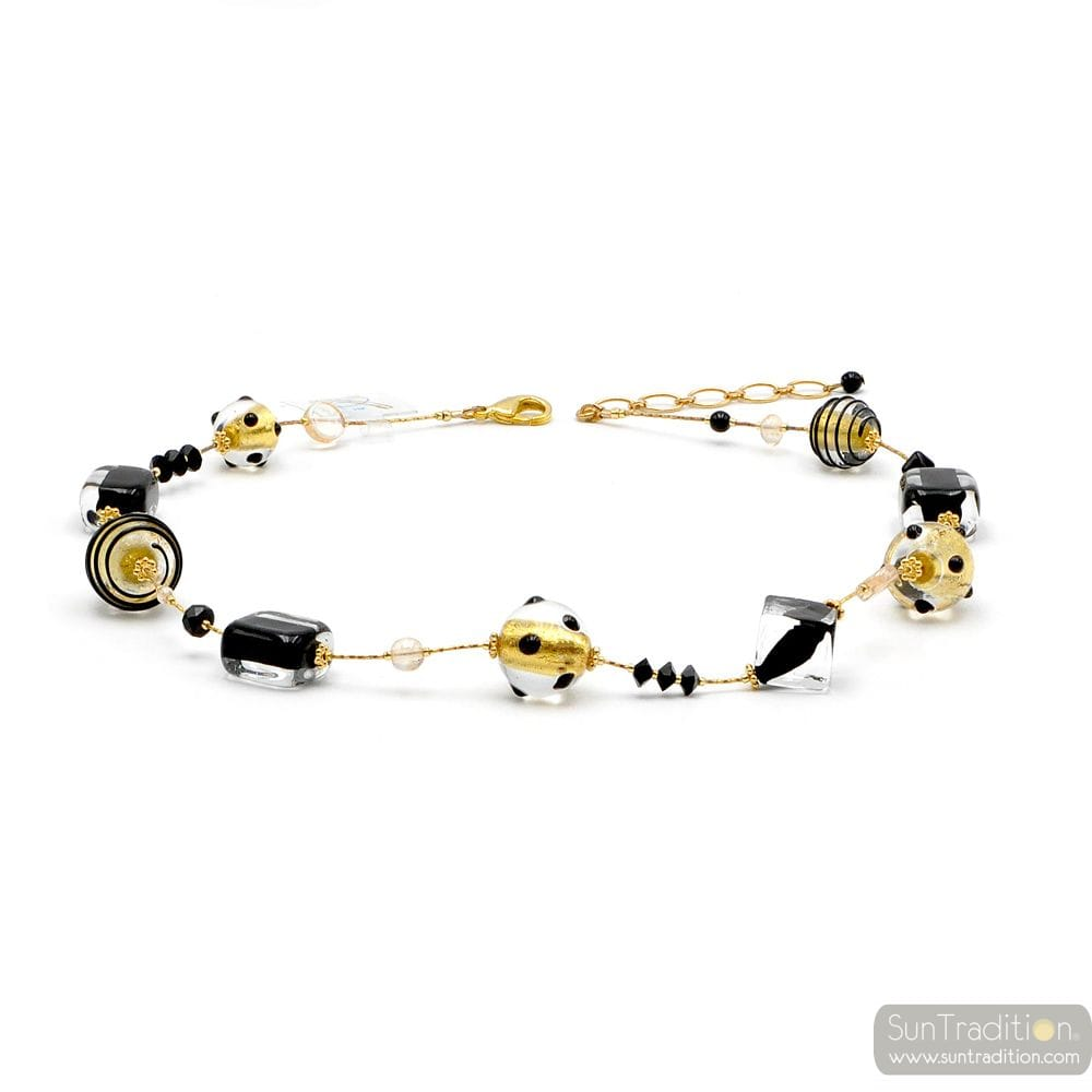 BLACK AND GOLD NECKLACE GOLD JEWELRY GENUINE MURANO GLASS OF VENICE