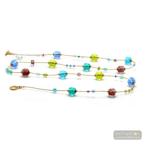 Fizzy blue long - Long blue round Murano glass necklace real italian jewellery Venice