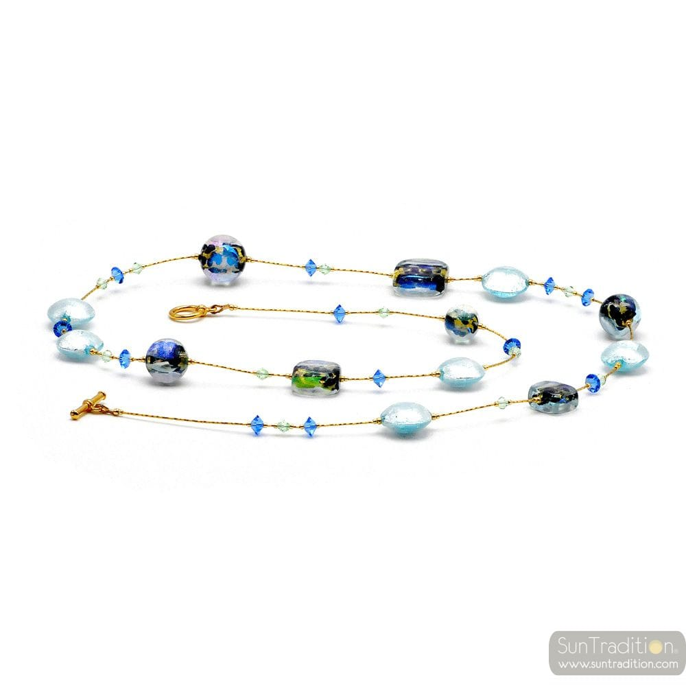 MOONLIGHT BLUE - BLUE MURANO GLASS NECKLACE JEWEL GENUINE MURANO GLASS OF VENICE
