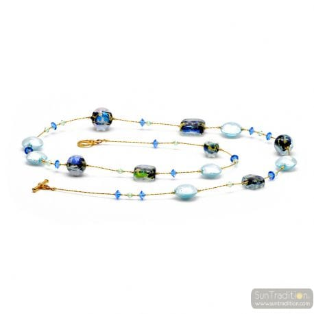 Moonlight blue - Blue Murano glass beads necklace genuine jewel of Venice Italy