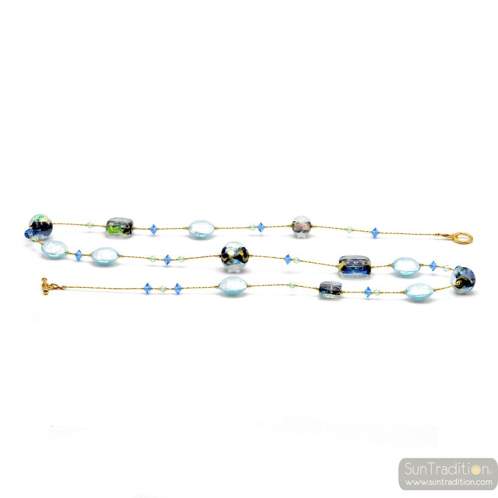 BLUE GENUINE MURANO GLASS NECKLACE OF VENICE