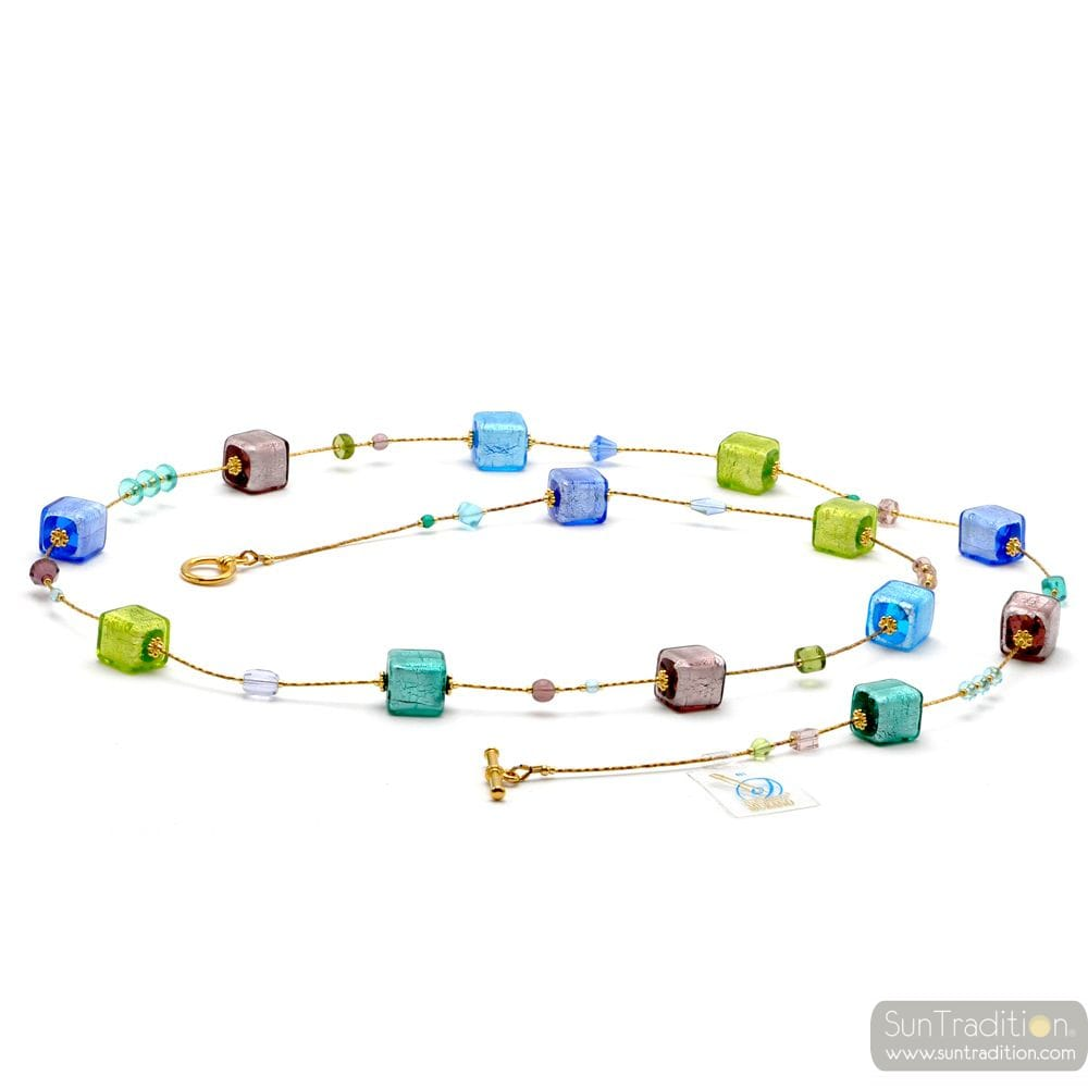 COLLIER MULTICOLORE LONG EN VERITABLE VERRE DE MURANO DE VENISE