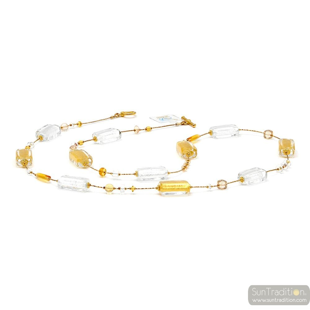 4 SEASONS WINTER LONG - LONG GOLD MURANO GLASS NECKLACE JEWELRY GENUINE OF VENICE