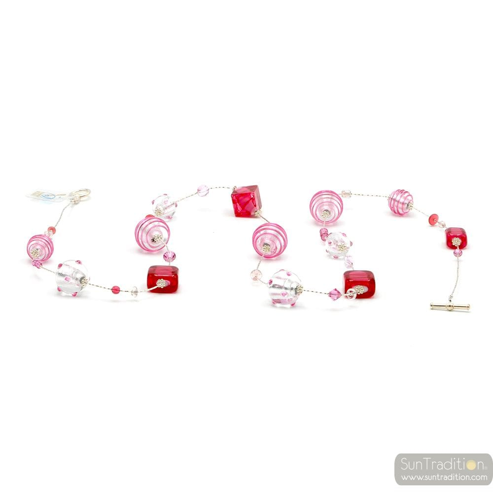 JOJO LONG ARGENT ET ROSE - COLLIER LONG ROSE EN VERRE DE MURANO DE VENISE