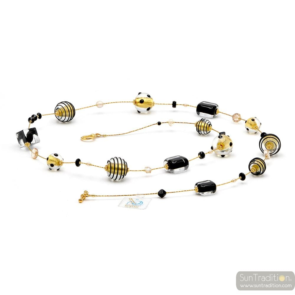 JOJO BLACK AND GOLD LONG - LONG GOLD NECKLACE GENUINE MURANO GLASS