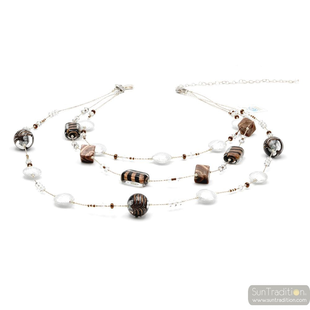 FENICIO CHIC SILVER LONG 3-ROW - SILVER MURANO GLASS NECKLACE MESHED BROWN