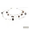 Fenicio Chic long - Long silver motley brown 3 rows Murano glass necklace venitian jewellry Italy