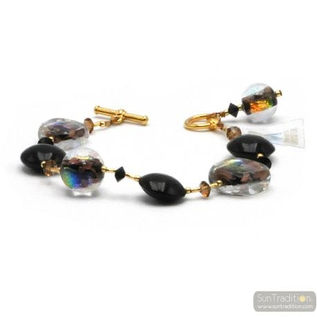 Black moonlight - Black Murano glass bracelet Venice