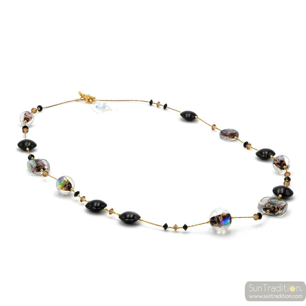 MOONLIGHT BLACK - BLACK MURANO GLASS NECKLACE JEWEL GENUINE MURANO GLASS OF VENICE