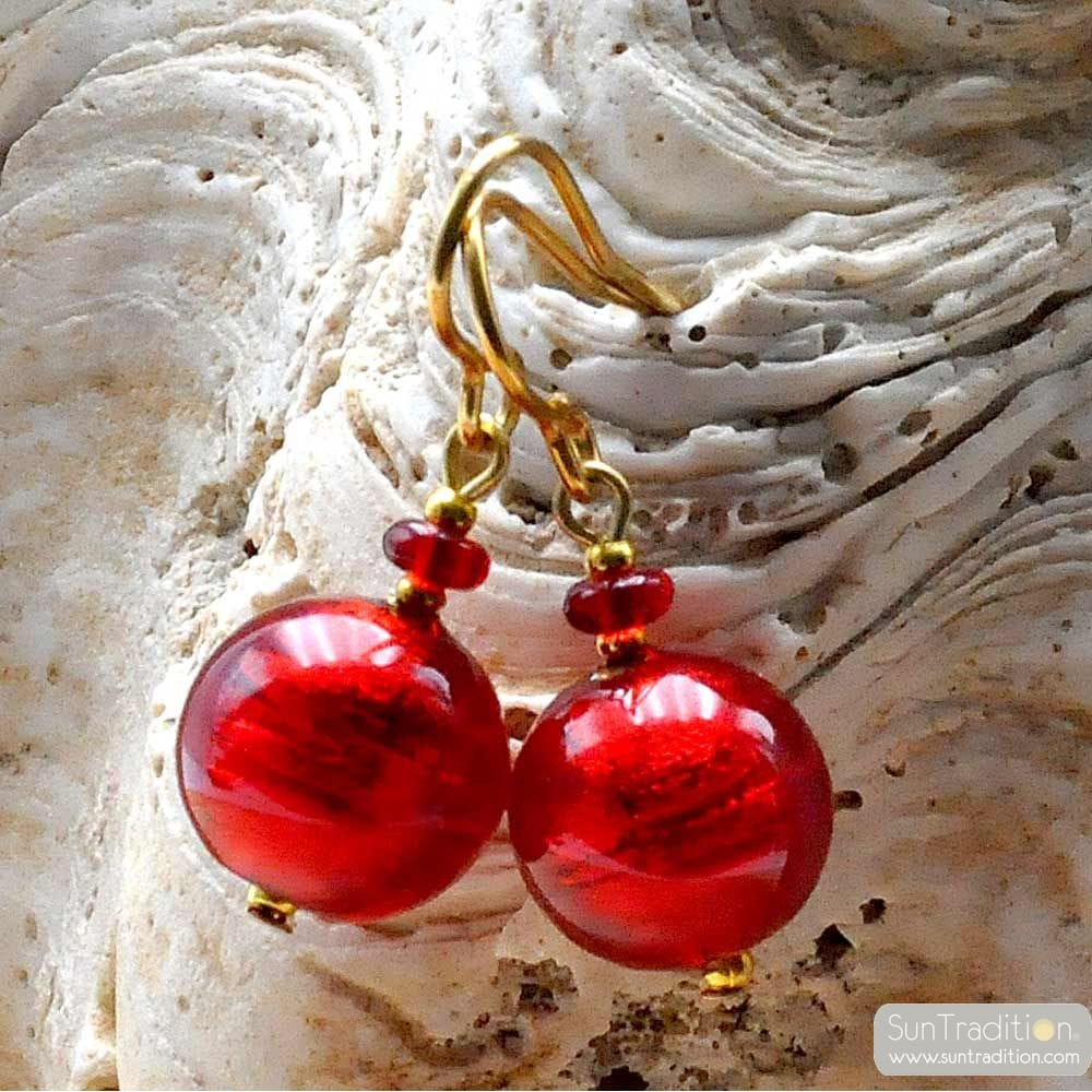 RED BALL EARRINGS GENUINE VENICE MURANO GLASS