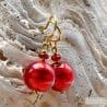 RED BALL EARRINGS GENUINE VENICE MURANO GLASS