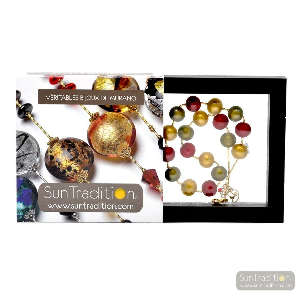BALL SATIN - COLLIER ROUGE EN VERITABLE VERRE DE MURANO