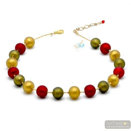 Red Satin ball murano beads necklace genuine venitian jewellry Italy