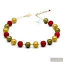 Red Ball satin - Red Satin ball murano beads necklace genuine venitian jewellry Italy